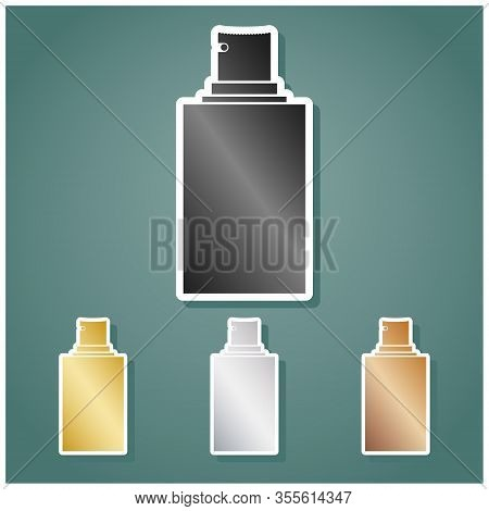 Spray Sign. Set Of Metallic Icons With Gray, Gold, Silver And Bronze Gradient With White Contour And