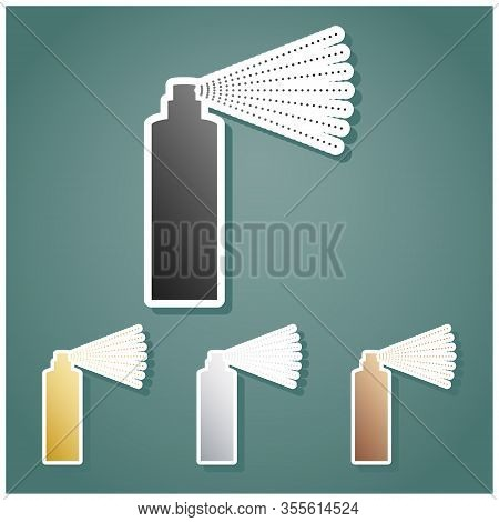 Bottle Spray Sign. Set Of Metallic Icons With Gray, Gold, Silver And Bronze Gradient With White Cont