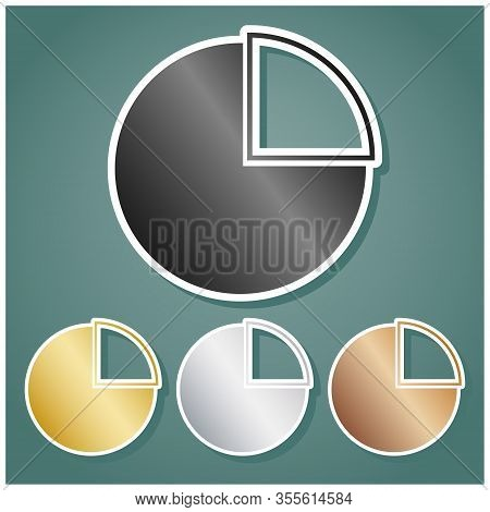 Diagram Sign. Set Of Metallic Icons With Gray, Gold, Silver And Bronze Gradient With White Contour A