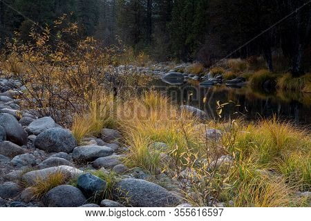A View Of  Yosemite Merced  River By Mariposa, In The Fall, Featuring Yellow Colors, And Blue Sky Ca