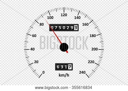 Car Speedometer At Transparent Background. Speedometer With Speed Scale And Kilometer Counter. Vecto