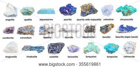 Set Of Various Blue Unpolished Rocks With Names (chrysocolla, Cordierite, Apatite, Turquoise, Tanzan