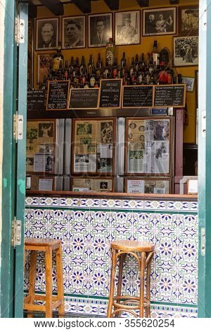 September 2, 2019, Cadiz, Andalusia, Spain, Small Andalusian Sherry Cafe Bar For Local People