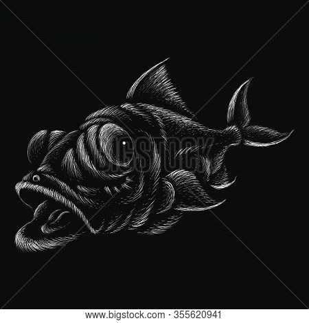 The Vector Logo Fish For T-shirt Design Or Outwear.  Fishing Style Fish Background. This Hand Drawin