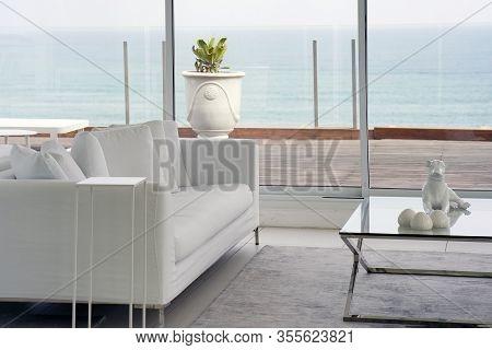 White Concept Living Room Interior. Interior Of The Living Room Of The Hotel. Beautiful Living Room