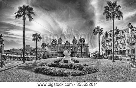 Monte Carlo, Monaco - August 13: Facade Of The Monte Carlo Casino, Famous Gambling And Entertainment