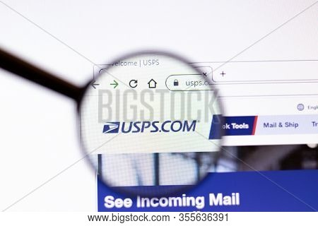 Los Angeles, California, Usa - 15 March 2020: U.s. Postal Service Usps Icon On Website Page. Usps.co