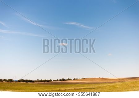 Endless Sky Over The Crimean Fields.cirrus Clouds Spread Over The Field.