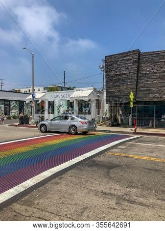 Rainbow Gay Flag Crosswalk In Abbot Kinney Boulevard, Venice, Los Angeles, Usa. Colorful Pedestrian