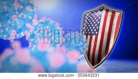 Fight Of The Usa With Coronavirus - 3d Render