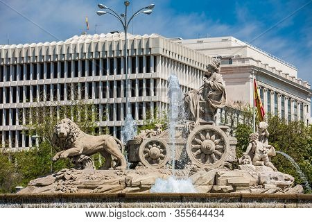 The Famous Monumental Cibeles Fountain Located In The Square Of The Same Name Built On 1782 at Madr