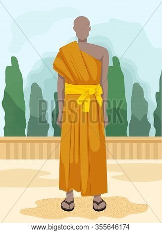 Bald Man In Yellow Dress With Belt And Slates. Vector Illustration. Tourism Development. Traveling A