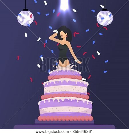 Beautiful Woman Character Jumped Out Of Huge Cake. Birthday Party In Night Club. Festive Flat Cartoo