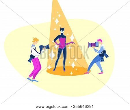 Best Film Award Festival Red Carpet. Famous Beautiful Actress Character In Superhero Costume Posing