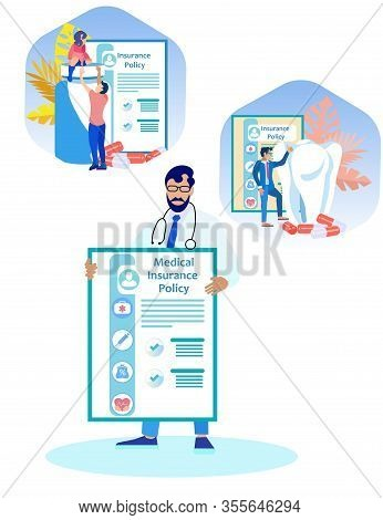 Bearded Doctor With Medical Insurance Policy. Insurance Policy. Vector Illustration. Reliable Protec