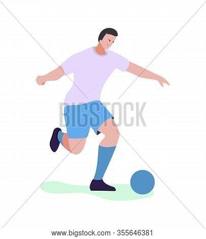 Cartoon Male Football Player Character Ready To Kick Ball. Flat Sportsman In Uniform Training, Fulfi