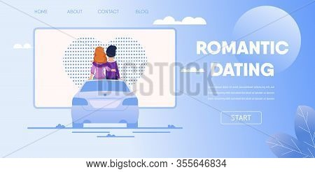 Romantic Dating Concept. Love Couple Boyfriend Girlfriend Sit On Car Watching Movie At Parking Lot.