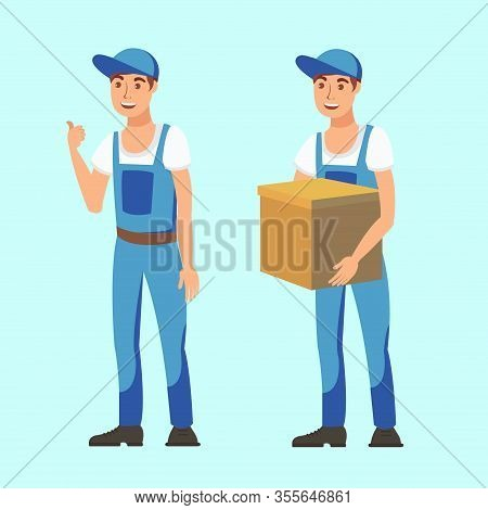 Delivery Man, Courier Flat Vector Illustration. Man Shows Thumbs Up , Holds Cardboard Box Cartoon Ch