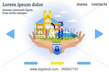 Family And Property Insurance. Insurance Company Website Menu. Insurance Policy. Vector Illustration