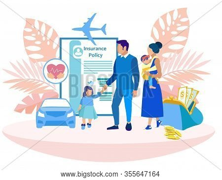 Family With Two Daughters In Insurance Company. Insurance Policy. Vector Illustration. Reliable Prot