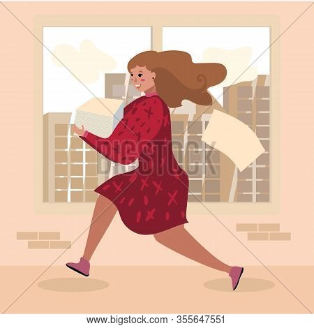 Cartoon Female Office Worker Character Hurrying Up With Paper Documents Stack. Workaholic Woman Runn