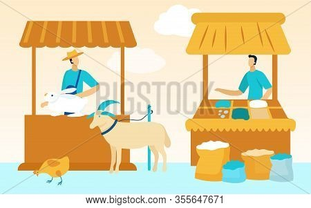Farmers Market Farmers Sell Products. Vector Illustration. Natural Farm Products. Farm Business. Wor