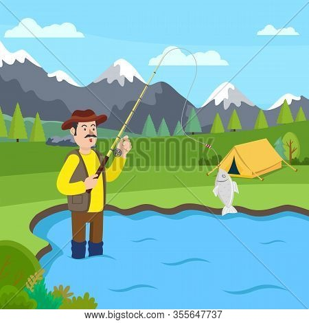 Fisherman In Rubber Boots Standing In Lake. Fishing Rod In Hand. Fish In Bucket. Catch Fish. Fish On