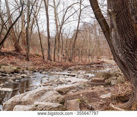 Nine Mile Run Creek In Frick Park On A Winter Day In Pittsburgh, Pennsylvania, Usa. The Creek Meande