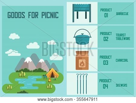 Advertising Store Flat Banner With Detail Description Of Goods For Picnic Outdoors Vector Online Sho
