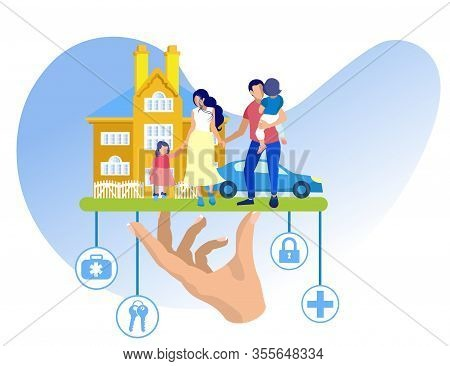 Husband Wife And Two Children On Background House. Blue Car. Vector Illustration. Reliable Protectio
