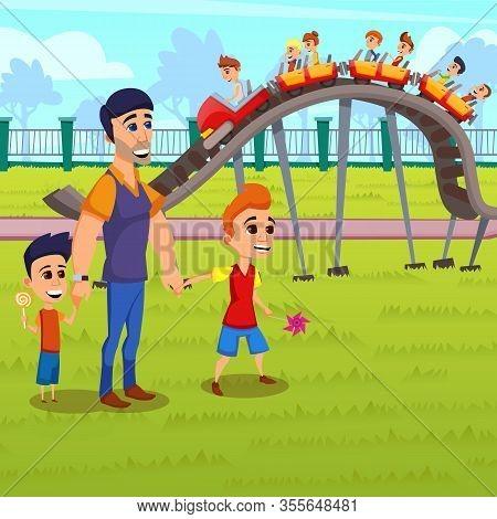 Informative Banner Roller Coaster Cartoon Flat. Wonderland And Amusement Park For Children. Father W