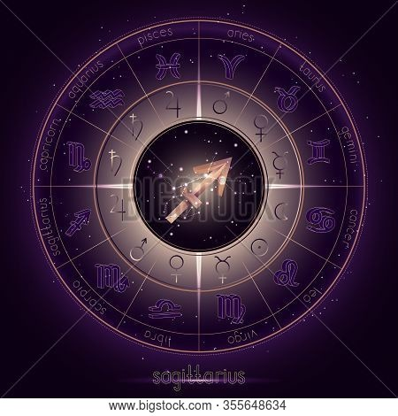Zodiac Sign And Constellation Sagittarius With Horoscope Circle On The Starry Night Sky Background W
