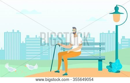 Man In Glasses With Stick Sitting On Bench In Park On Cityscape Background Flat Cartoon Vector Illus