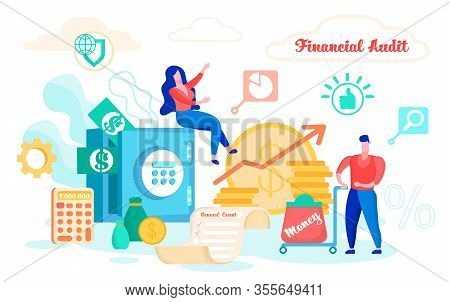 Vector Illustration Financial Audit Cartoon Flat. Man Carries On Trolley Bag With An Inscription Mon