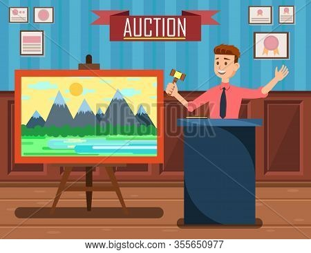 Auction With Man Holding Gavel Banner Vector Illustration. Auction Business, Bid And Sale, Trade Com