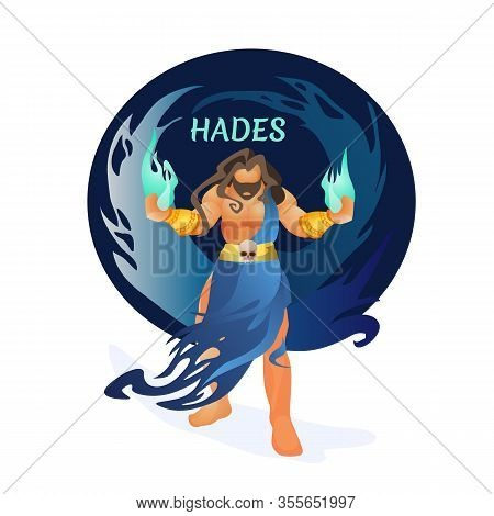 Hades Greek God Holding Hellfire In Hands And Human Scull On Belt . Ancient History Character Pluto