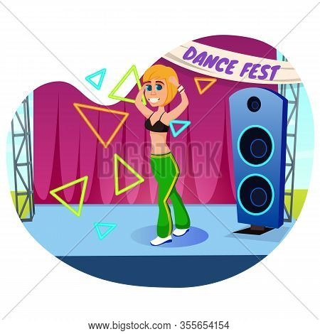 Dancing Amateur, Happy To Take Part In Local Fest. Young Smiling Fit Blonde, Wearing Sports Clothing
