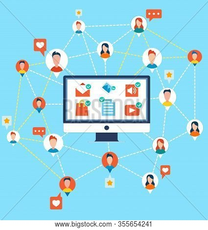 Social Media Networking People Connected Avatar, Like And Rating Stars Icons, Computer Screen. Netwo