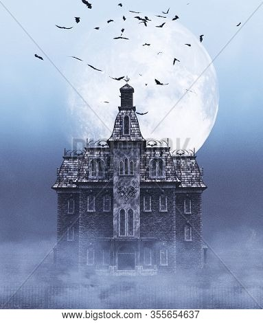 Haunted House Scene For Halloween,3d Rendering For Book Cover