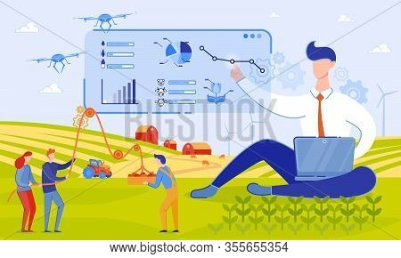 Vector Illustration Use Drones On Farm Cartoon. Drones Will Bring Many Benefits To Farmers. Data Obt