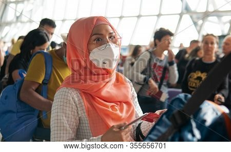 Bangkok, Thailand - 9 March 2020: Coronavirus Pandemic Covid-19 In Airports. Quarantine And Protecti