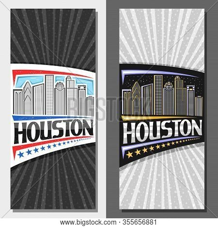 Vector Layouts For Houston, Decorative Leaflet With Line Illustration Of Contemporary Houston City S