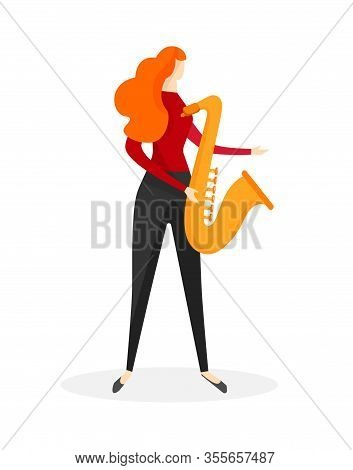 Young Female Character Playing Saxophone Isolated On White Background. Redhead Faceless Girl Musicia