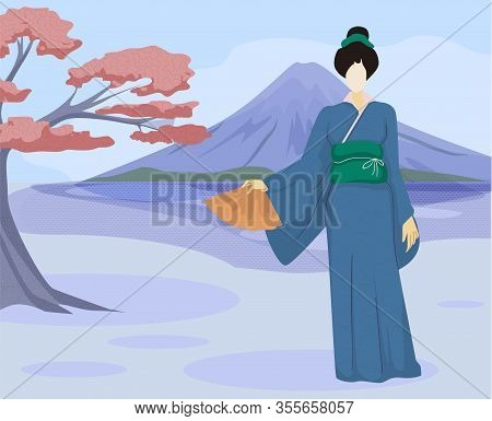 Woman In Japanese Clothing With Fan On Background Sakura And Volcano. Vector Illustration. Travel Ag