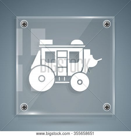 White Western Stagecoach Icon Isolated On Grey Background. Square Glass Panels. Vector Illustration