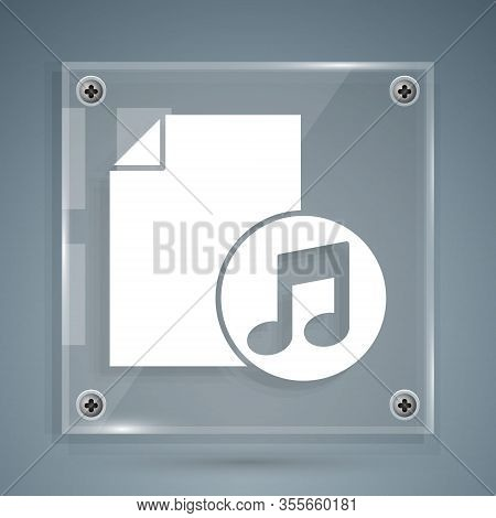 White Music Book With Note Icon Isolated On Grey Background. Music Sheet With Note Stave. Notebook F