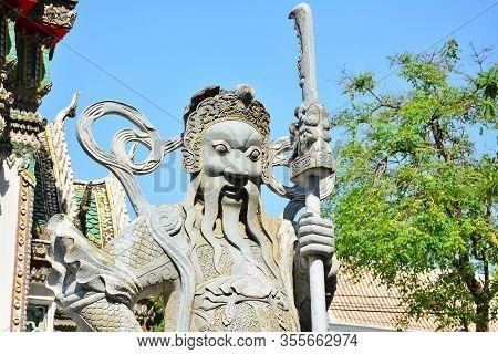 Bangkok, Th - Dec. 12: Chinese Guardian Figure At Wat Pho On December 12, 2016 In Bangkok, Thailand.