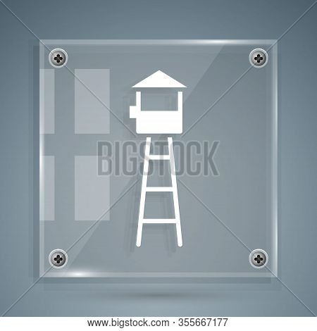 White Watch Tower Icon Isolated On Grey Background. Prison Tower, Checkpoint, Protection Territory,