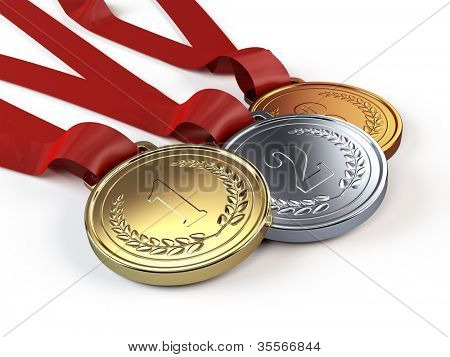 Gold, Silver and bronze medals poster