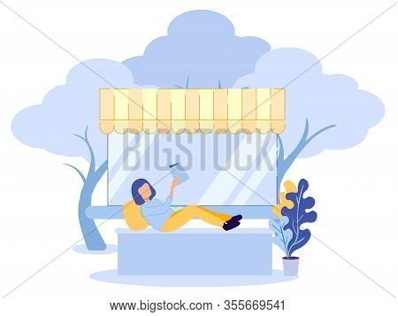 Cartoon Woman Character Have Rest And Enjoy Reading Book. Girl Relaxing Under Canopy. Hobby Or Daily
